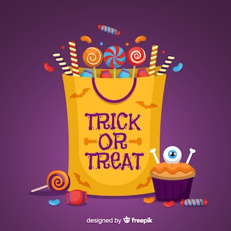 Fundo de saco de doces de halloween