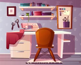 Fundo de sala de alfaiate, artesanato ou área de costura. Estúdio de uma costureira