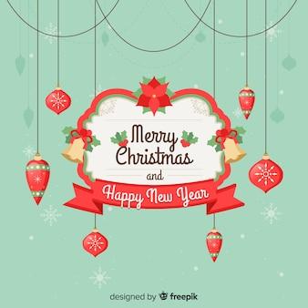 Fundo de saudação de decoração de natal hangin