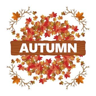 Fundo de saudação de ilustração outono maple leaf