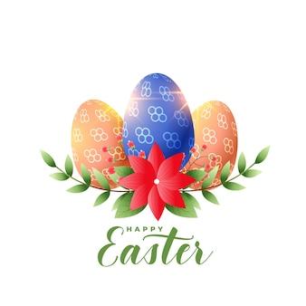 Fundo de saudação de páscoa com decoração de flores e ovos