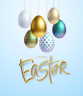 Fundo de saudação de páscoa com ovos de páscoa realistas de ouro, azuis e brancos. ilustração vetorial eps10