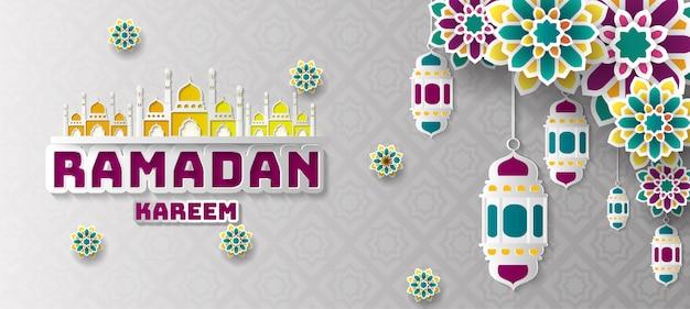 Fundo de saudação de ramadan kareem.