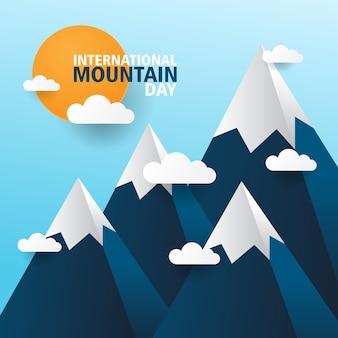 Fundo de saudação do dia internacional da montanha com estilo de jornal