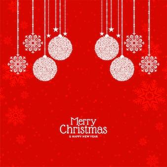 Fundo de saudação do festival de feliz natal de cor vermelha