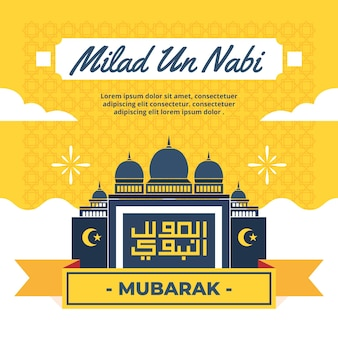 Fundo de saudação mawlid milad-un-nabi com mesquita