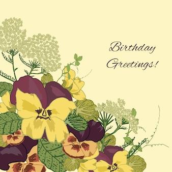 Fundo de saudações de aniversário de flores vintage com ilustração em vetor viúva petúnia amor-perfeito