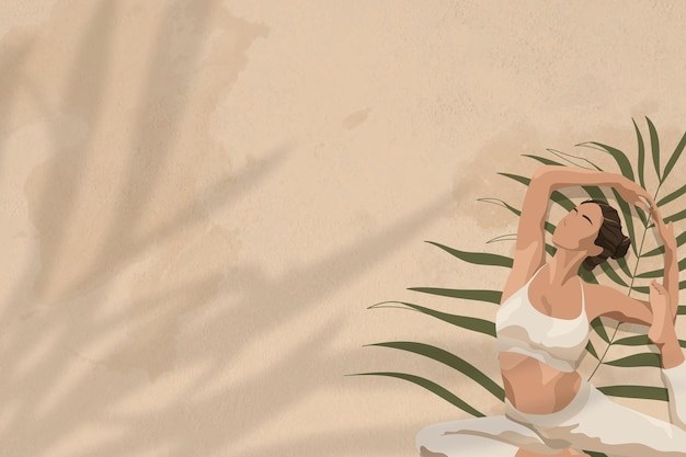 Fundo de saúde e bem-estar bege com mulheres alongando a ilustração