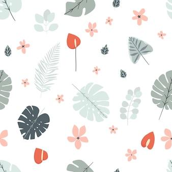 Fundo de seamles de verão com folhas tropicais e flobers em cores masculinas