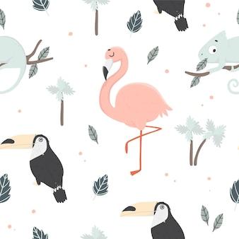 Fundo de seamles de verão com palmeiras de animais tropicais e folhas de flamingo