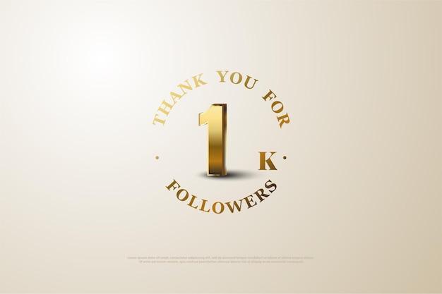 Fundo de seguidor 1k com número dourado sombreado em fundo branco.