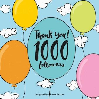 Fundo de seguidor de 1k com balões desenhados à mão