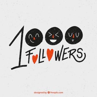 Fundo de seguidor de 1k com rostos