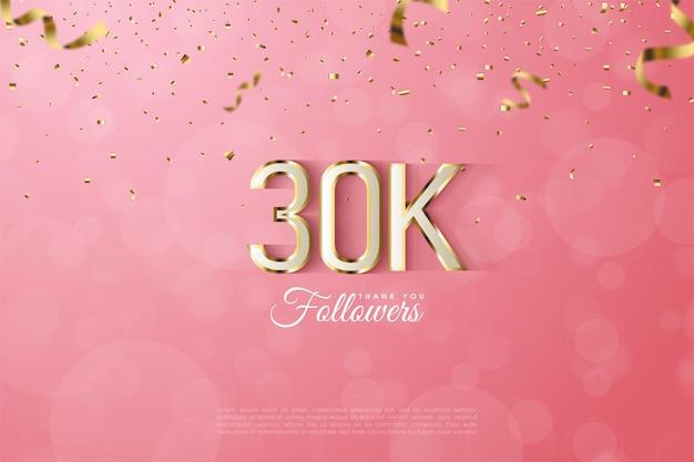 Fundo de seguidor de 30k com suntuosas bordas numeradas em ouro.