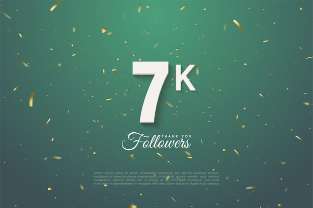 Fundo de seguidor de 7k com números em fundo de folha verde escuro.