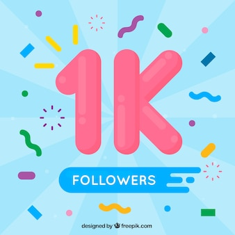 Fundo de seguidores de 1k com confetes em design plano