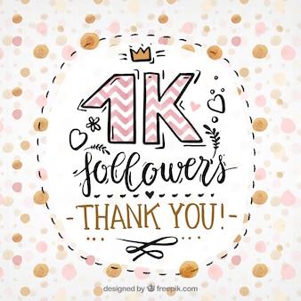Fundo de seguidores de 1k e rosa e ouro