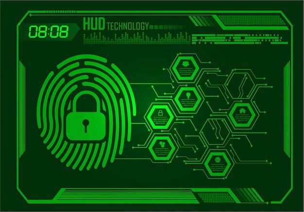 Fundo de segurança cibernética de rede de impressão digital, cadeado fechado hud