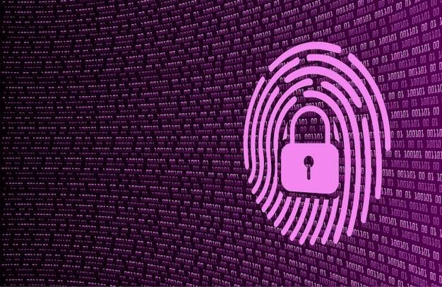 Fundo de segurança cibernética de rede de impressão digital. cadeado fechado