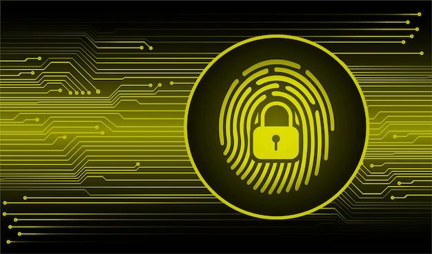 Fundo de segurança cibernética de rede de impressão digital, cadeado fechado