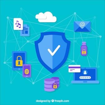 Fundo de segurança com itens e linhas conectadas