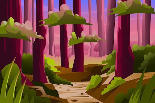 Fundo de selva de desenho animado com caminho