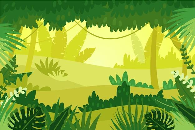 Fundo de selva de desenho animado com planta monstera