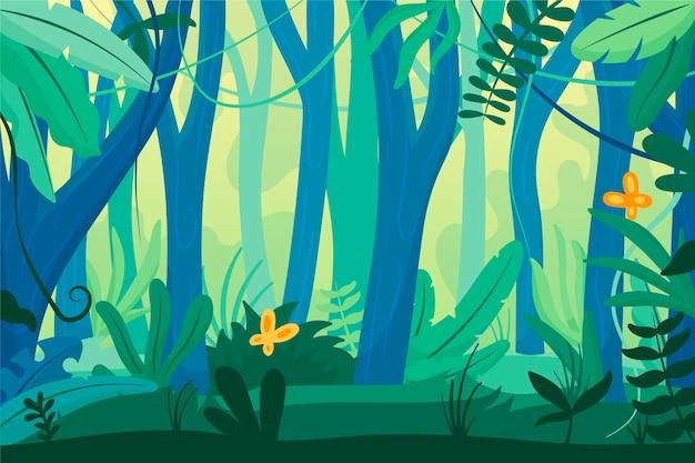 Fundo de selva de desenho animado