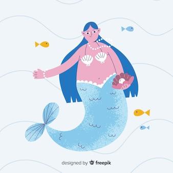 Fundo de sereia colorido mão desenhada
