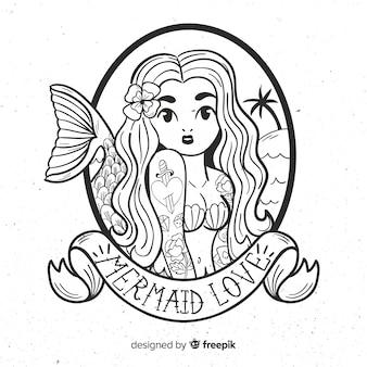 Fundo de sereia de mão desenhada
