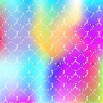 Fundo de sereia holográfica com escalas de gradiente. transições de cores brilhantes. bandeira de cauda de peixe e convite. padrão subaquático e mar para a festa. cenário vibrante com sereia holográfica.