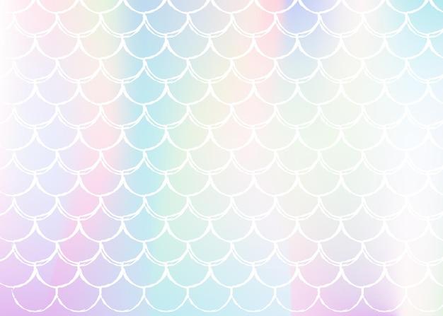 Fundo de sereia holográfica com escalas de gradiente. transições de cores brilhantes. bandeira de cauda de peixe e convite. padrão subaquático e mar para festa de menina. costas elegantes com sereia holográfica.