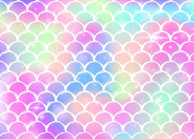 Fundo de sereia kawaii com padrão de escalas princesa arco-íris. banner de cauda de peixe com brilhos mágicos e estrelas. convite de fantasia do mar para festa de garotas. pano de fundo retrô sereia kawaii.