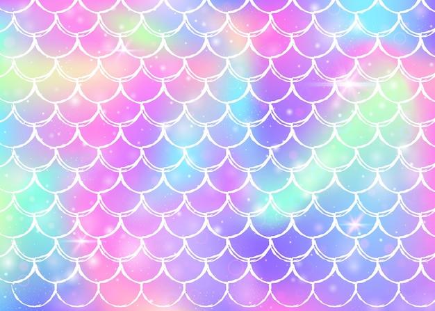 Fundo de sereia kawaii com padrão de escalas princesa arco-íris. banner de cauda de peixe com brilhos mágicos e estrelas.