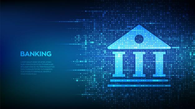Fundo de serviço bancário. ícone do edifício do banco feito com símbolos de moeda. ícones de dólar, euro, iene e libra.