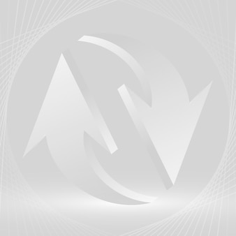 Fundo de seta abstrato, vetor de símbolo reverso de negócios gradiente branco