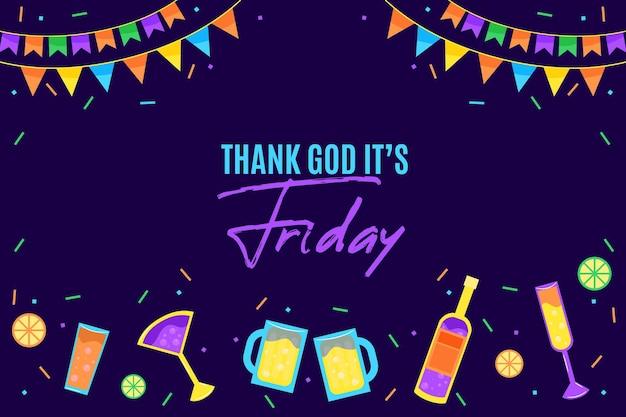 Fundo de sexta-feira com guirlandas e bebidas