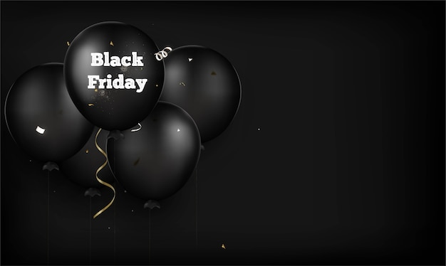 Fundo de sexta-feira negra. balões pretos em um preto. .