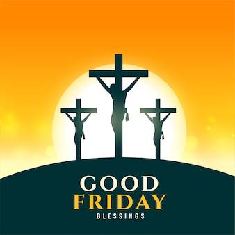 Fundo de sexta-feira santa com cena da crucificação de jesus