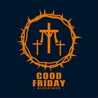 Fundo de sexta-feira santa com cruz e espinhos