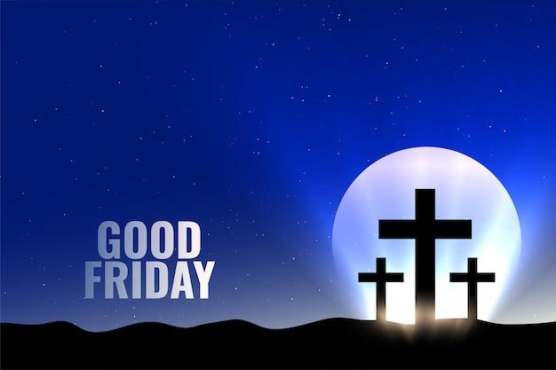 Fundo de sexta-feira santa com lua e luzes brilhantes