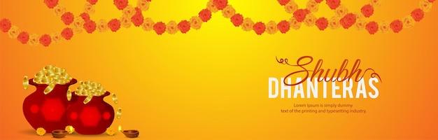 Fundo de shubh dhanteras do festival indiano com pote de moedas de ouro