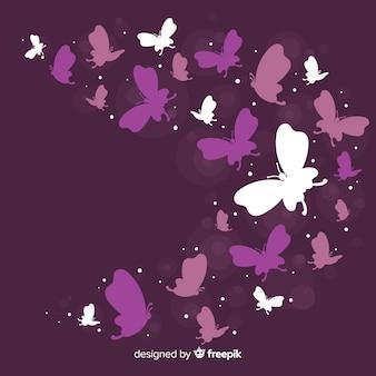 Fundo de silhueta de borboleta