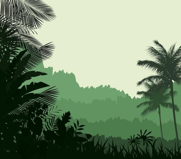 Fundo de silhueta de floresta tropical