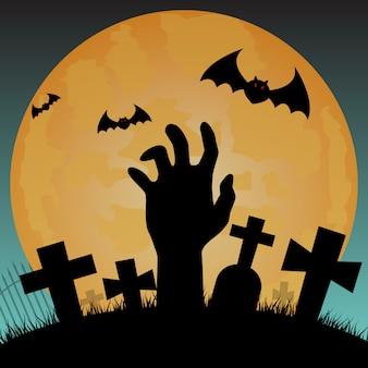 Fundo de silhueta de halloween, mão de zumbi no cemitério com céu noturno