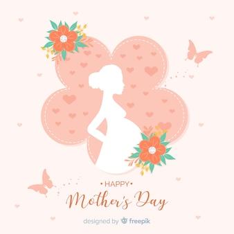 Fundo de silhueta de mulher grávida dia das mães