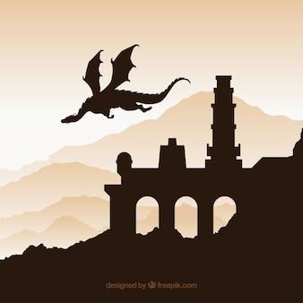 Fundo de silhueta do castelo com o dragão voando