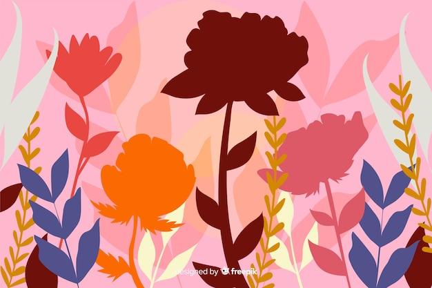 Fundo de silhueta floral colorido liso