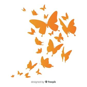 Fundo de silhueta gradiente borboleta enxame