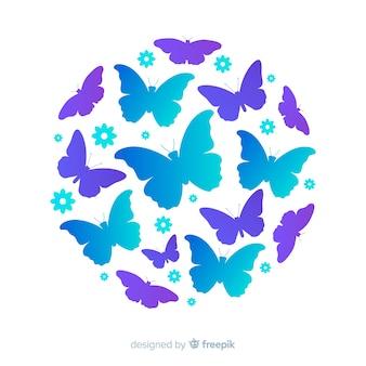 Fundo de silhuetas de borboleta de enxame em círculo